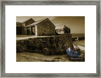 Fishing Boat At Sennen Cove  Framed Print by Rob Hawkins