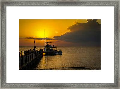 Fishing Boat At Sunset Framed Print by Phil Abrams