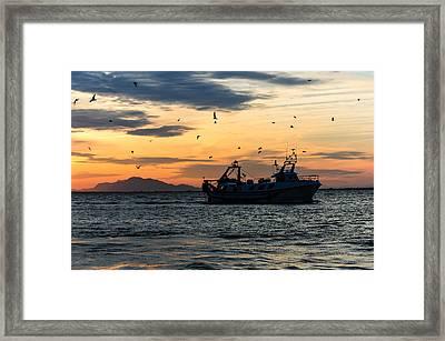 Fishing Boat At Sunset Framed Print