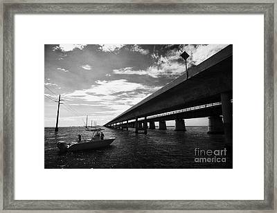 Fishing Boat Beneath New Seven Mile Bridge In Marathon In The Florida Keys Framed Print by Joe Fox