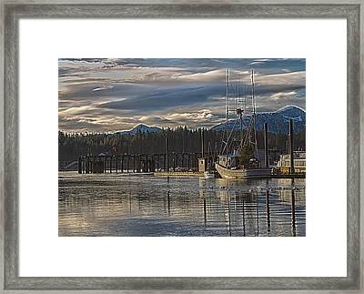 Fishing Boat Christmas Tree Framed Print by Timothy Latta