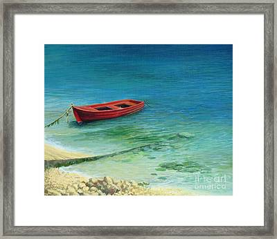 Fishing Boat In Island Corfu Framed Print by Kiril Stanchev