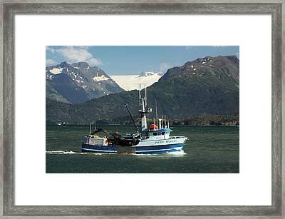 Fishing Boat In Kachemak Bay, Homer Framed Print by Michel Hersen