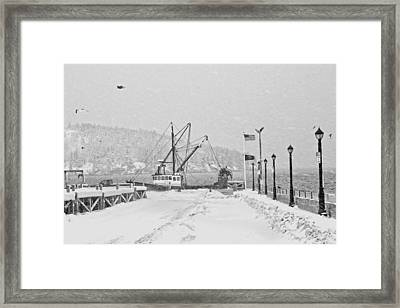 Fishing Boat In Snowstorm Bar Harbor Maine Framed Print by Keith Webber Jr