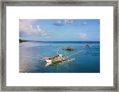 Fishing Boat In The Water, Bohol Framed Print by Keren Su