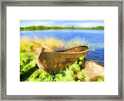 Fishing Boat Kizhi Island Framed Print by Glen Glancy