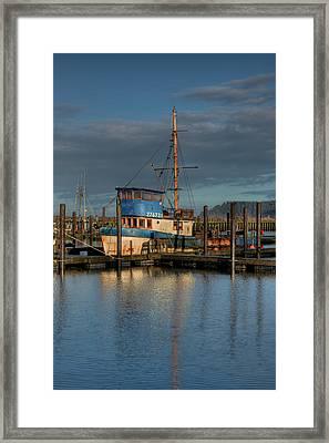 Fishing Boat Moored At A Dock, La Push Framed Print