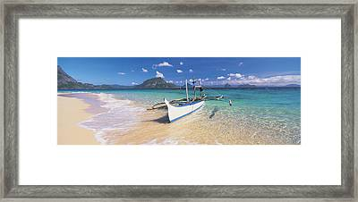 Fishing Boat Moored On The Beach Framed Print by Panoramic Images