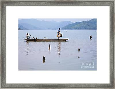 Fishing Boat On Lake Ghodahada In Orissa India Framed Print by Robert Preston