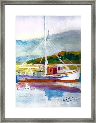 Fishing Boat On Puget Sound Framed Print by Ruthann  Hanson