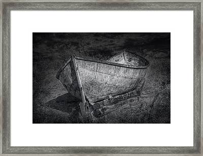 Fishing Boat On Shore In Black And White Framed Print by Randall Nyhof