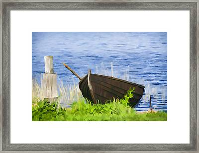 Fishing Boat On The Volga Framed Print by Glen Glancy