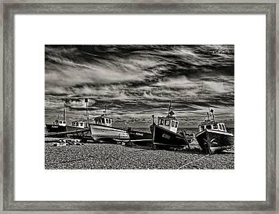 Fishing Boats At Beer Framed Print by Pete Hemington