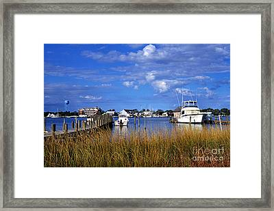 Fishing Boats At Dock Ocracoke Island Framed Print