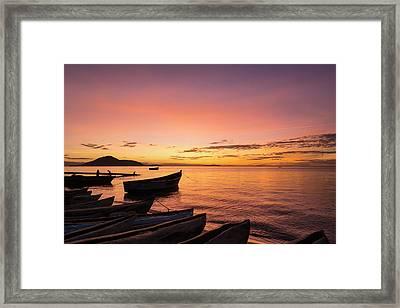 Fishing Boats At Dusk, Cape Maclear Framed Print by Ian Cumming