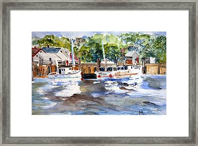 Fishing Boats At Rock Harbor Framed Print