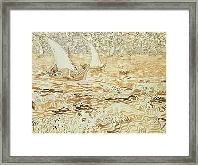 Fishing Boats At Saintes Maries De La Mer Framed Print by Vincent van Gogh