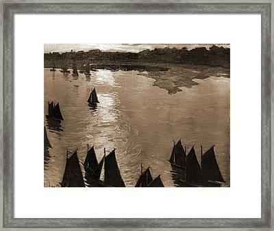 Fishing Boats At Sunrise, Lie, Jonas, 1880-1940 Framed Print