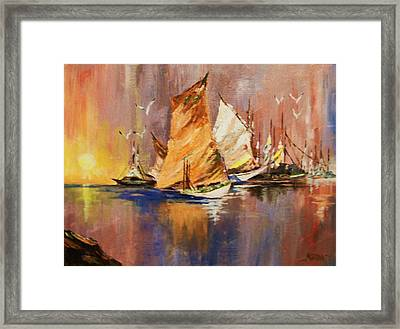 Framed Print featuring the painting Fishing Boats At Sunup by Al Brown