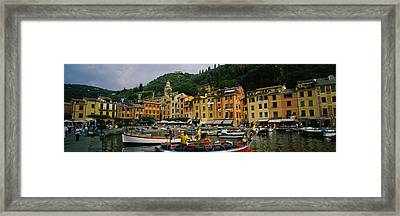 Fishing Boats At The Harbor, Portofino Framed Print by Panoramic Images