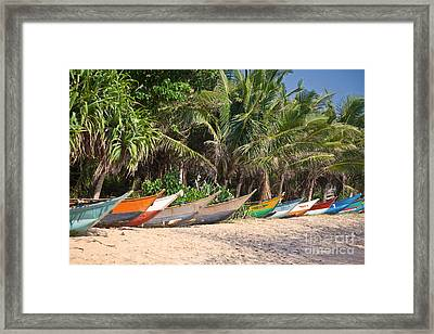 Fishing Boats B Mirissa Beach Framed Print by Liz Leyden