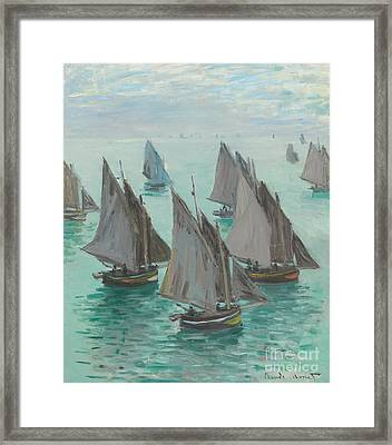 Fishing Boats Calm Sea Framed Print