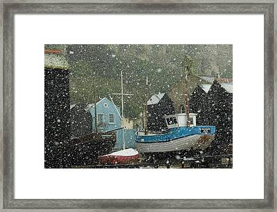 Fishing Boats Covered With Snow In Old Framed Print by Chris Parker