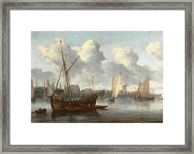 Fishing Boats In A Harbor Framed Print