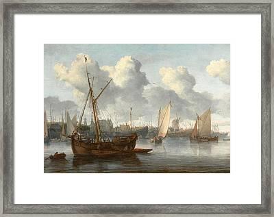 Fishing Boats In A Harbor Framed Print by Allaert van Everdingen