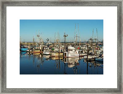 Fishing Boats In A Harbour  Westport Framed Print by Robert L. Potts
