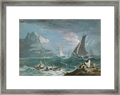 Fishing Boats In A Storm Marco Ricci, Italian Framed Print by Litz Collection