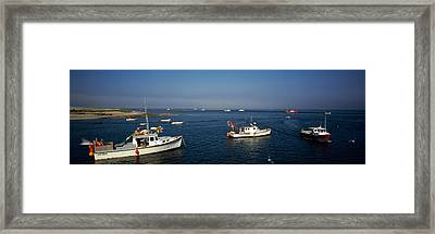 Fishing Boats In An Ocean, Cape Cod Framed Print