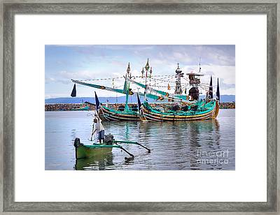 Fishing Boats In Bali Framed Print by Louise Heusinkveld