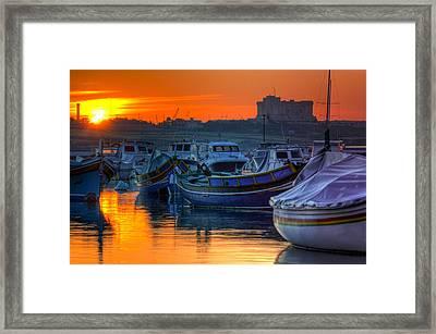 Fishing Boats In Birzebuggia Harbour Framed Print