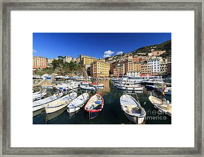 Framed Print featuring the photograph fishing boats in Camogli by Antonio Scarpi