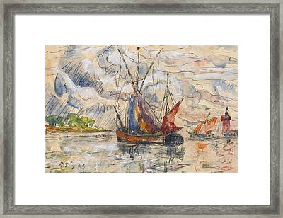 Fishing Boats In La Rochelle Framed Print by Paul Signac