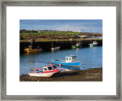 Fishing Boats In The Harbour At Hayle Framed Print by Louise Heusinkveld