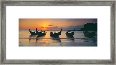Fishing Boats In The Sea, Railay Beach Framed Print