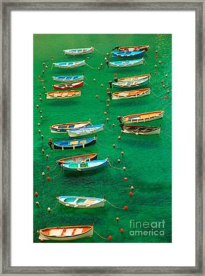 Fishing Boats In Vernazza Framed Print