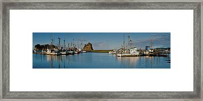 Fishing Boats Moored At A Harbor, La Framed Print