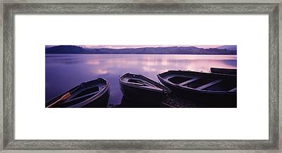 Fishing Boats Moored In A Lake, Loch Framed Print by Panoramic Images