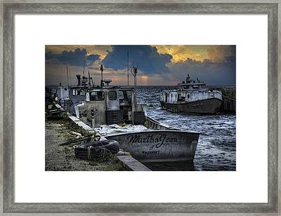 Fishing Boats Moored In The Channel With Rain Storm Moving In Framed Print