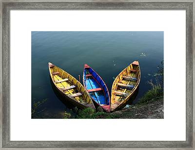 Fishing Boats - Nepal Framed Print by Aidan Moran