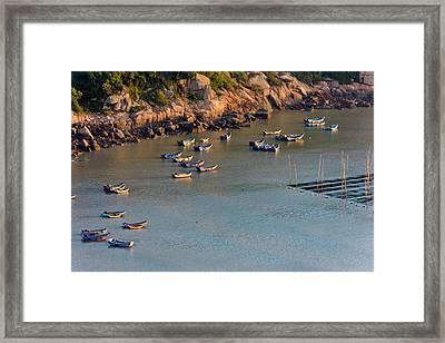 Fishing Boats On The Muddy Beach Framed Print