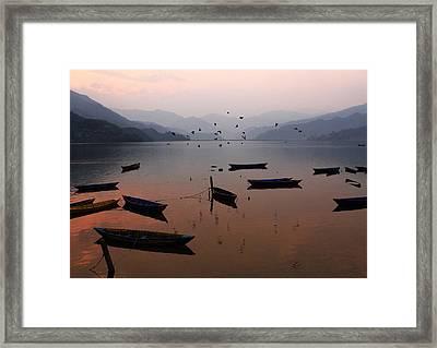 Fishing Boats - Phewa Lake - Nepal Framed Print by Aidan Moran