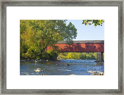 Fishing By The Covered Bridge Framed Print by Diane Diederich