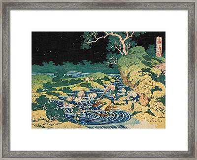 Fishing By Torchlight In Kai Province Framed Print by Katsushika Hokusai