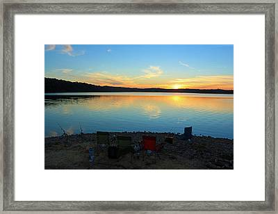 Fishing Campsite At Sunset Framed Print