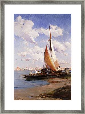 Fishing Craft With The Rivere Degli Schiavoni Venice Framed Print by E Aubrey Hunt