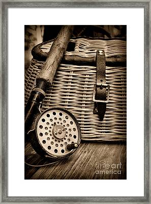 Fishing - Fly Fishing - Black And White Framed Print by Paul Ward